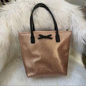 Kate Spade Rose Gold Glitter Metallic Bow Tote Bag